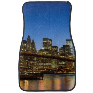 Manhattan and Brooklyn Bridge at dusk Car Mat