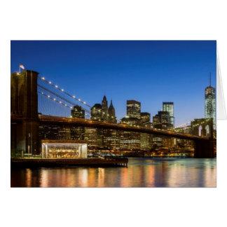 Manhattan and Brooklyn Bridge at dusk Card