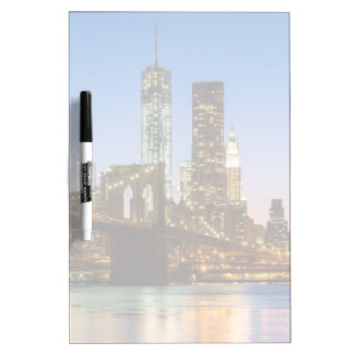 Manhattan and Brooklyn Bridge at dusk Dry Erase Board