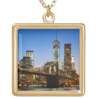 Manhattan and Brooklyn Bridge at dusk Gold Plated Necklace
