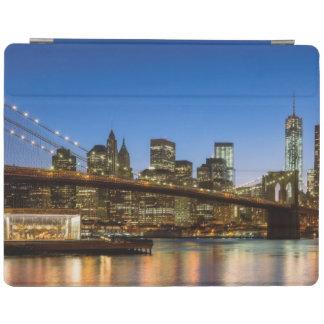 Manhattan and Brooklyn Bridge at dusk iPad Cover