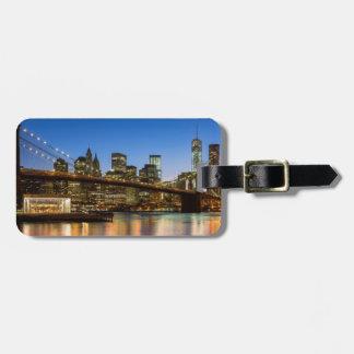 Manhattan and Brooklyn Bridge at dusk Luggage Tag