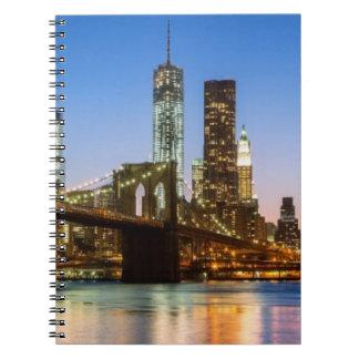 Manhattan and Brooklyn Bridge at dusk Notebooks