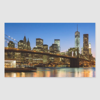 Manhattan and Brooklyn Bridge at dusk Rectangular Sticker