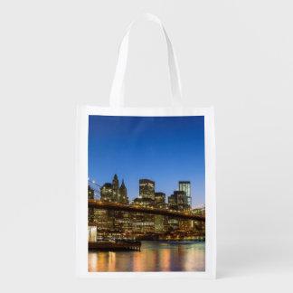 Manhattan and Brooklyn Bridge at dusk Reusable Grocery Bag