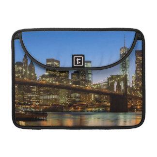 Manhattan and Brooklyn Bridge at dusk Sleeve For MacBooks