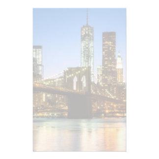 Manhattan and Brooklyn Bridge at dusk Stationery