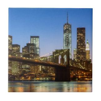 Manhattan and Brooklyn Bridge at dusk Tile