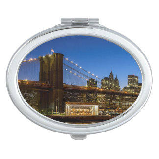 Manhattan and Brooklyn Bridge at dusk Vanity Mirrors