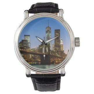 Manhattan and Brooklyn Bridge at dusk Watch