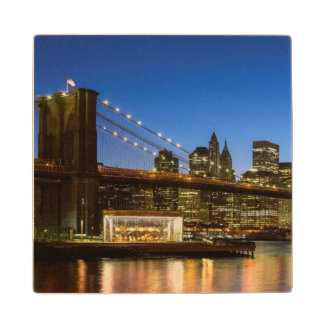 Manhattan and Brooklyn Bridge at dusk Wood Coaster
