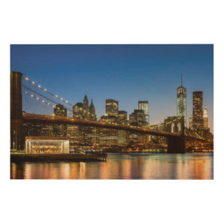 Manhattan and Brooklyn Bridge at dusk Wood Print