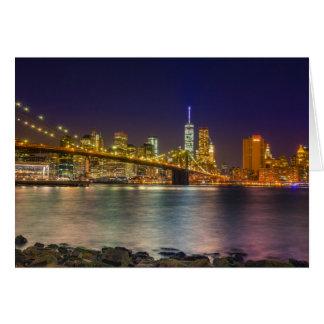 Manhattan and Brooklyn Bridge at night Greeting Card