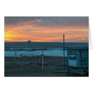 Manhattan Beach at El Porto Beach Sunset Card