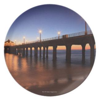 Manhattan Beach Pier at sunset, California Plate