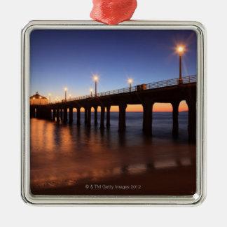 Manhattan Beach Pier at sunset, California Silver-Colored Square Decoration