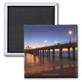 Manhattan Beach Pier at sunset, California Square Magnet