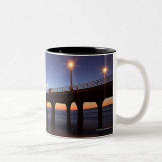 Manhattan Beach Pier at sunset, California Two-Tone Coffee Mug