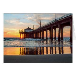 Manhattan Beach Pier Sunset Card