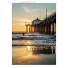Manhattan Beach Pier Sunset With Surfer Card