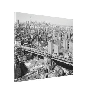 Manhattan Black and White Photograph Stretched Canvas Print