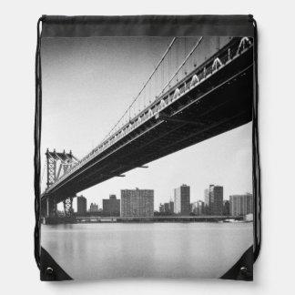 Manhattan Bridge and skyline, New York, US. Drawstring Bag