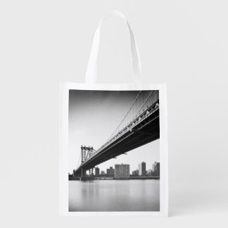 Manhattan Bridge and skyline, New York, US. Reusable Grocery Bag