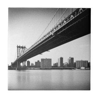 Manhattan Bridge and skyline, New York, US. Tile