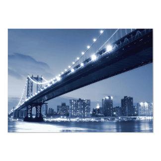 Manhattan Bridge At Night, New York City 13 Cm X 18 Cm Invitation Card