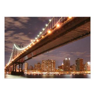 Manhattan Bridge At Night New York City Custom Invites