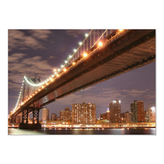 Manhattan Bridge At Night, New York City Custom Invites