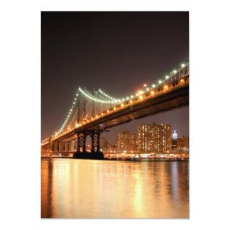Manhattan Bridge At Night, New York City 5x7 Paper Invitation Card