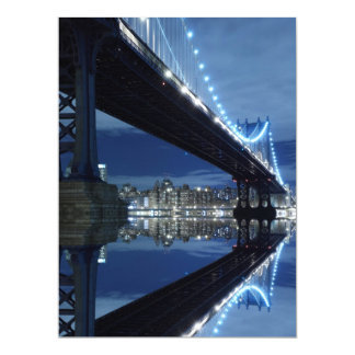 Manhattan Bridge At Night, New York City 6.5x8.75 Paper Invitation Card
