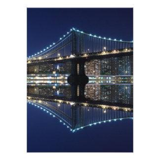 Manhattan Bridge At Night New York City Announcements