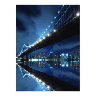 Manhattan Bridge At Night, New York City 5.5x7.5 Paper Invitation Card