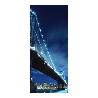 Manhattan Bridge At Night, New York City 10 Cm X 24 Cm Invitation Card