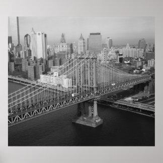 Manhattan Bridge Black and White Photograph Poster
