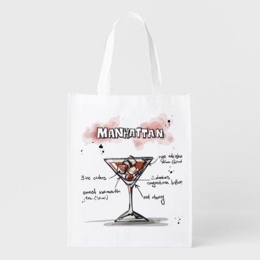 Manhattan Drink Recipe Design Market Tote