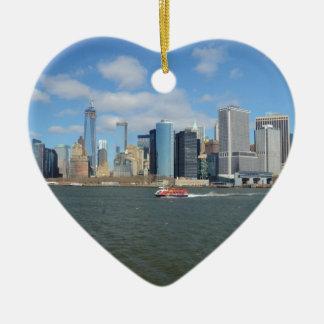 Manhattan in the distance. ceramic heart decoration