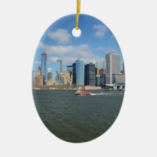 Manhattan in the distance. christmas ornament