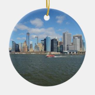 Manhattan in the distance. round ceramic decoration