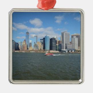 Manhattan in the distance. Silver-Colored square decoration