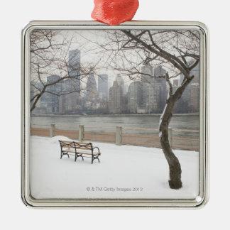 Manhattan in the Winter Silver-Colored Square Decoration