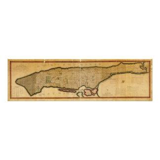 Manhattan Island New York City Map from 1807 Photo Art