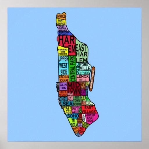 Manhattan Neighbourhoods Map Poster