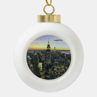 Manhattan New York at night Ceramic Ball Christmas Ornament