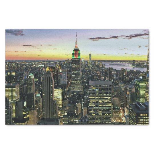 Manhattan New York at night Tissue Paper