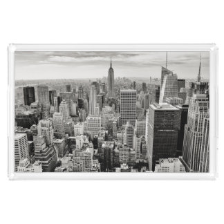 Manhattan, New York (black & white panorama) Acrylic Tray