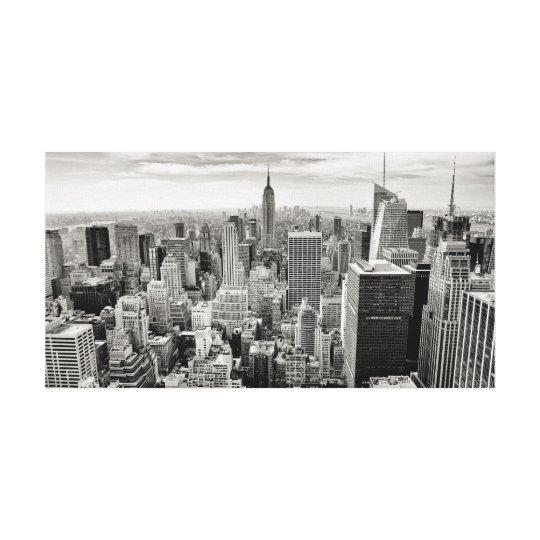 Manhattan, New York (black & white panorama) Canvas