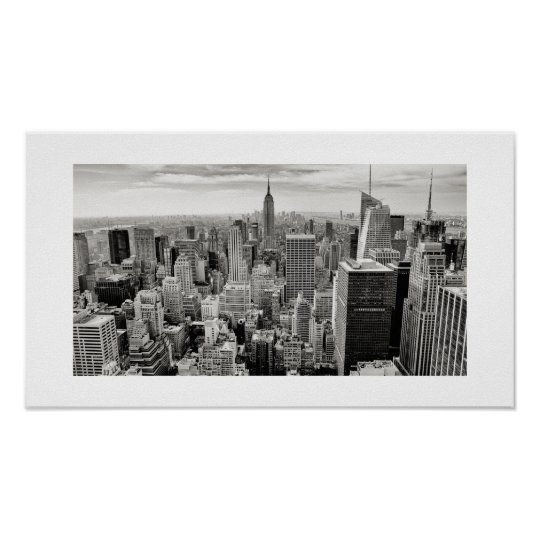 Manhattan, New York (black & white panorama) Poster
